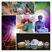 A collage of five holistic images showing a crystal healer choosing stones, lotus position, buddha meditating and a row of healing crystals on a black reflective background poster