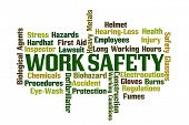 Work Safety word cloud on white background poster
