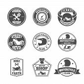 Speed race bikers garage repair service emblems and motorcycling clubs tournament labels collection isolated vector illustration poster