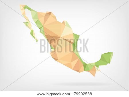 Low Poly map of Mexico