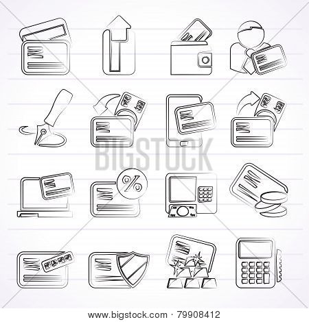 credit card, POS terminal and ATM icons