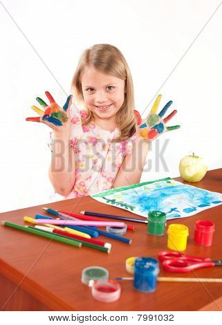 Smiling Little Girl Drawing Picture