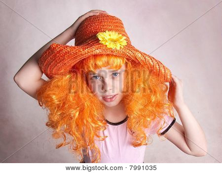Beautiful Smiling Redheaded Girl / Child In Red Straw Hat, Studio