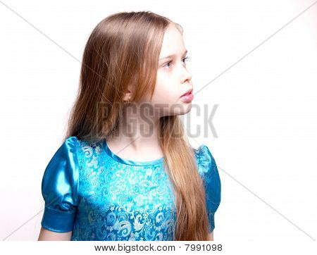 Beautiful Little Girl / Child Blonde, Profile Portrait, Looking, Isolated On White