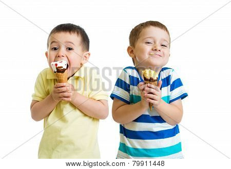 funny children or kids, little boys eat ice-cream isolated on white