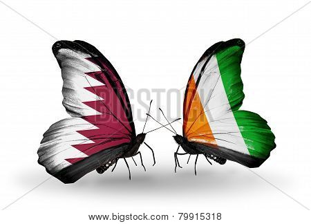 Two Butterflies With Flags On Wings As Symbol Of Relations Qatar And Cote Divoire