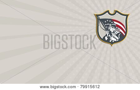 Business Card Patriot Holding American Flag Shield Retro