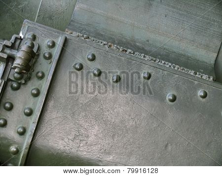 Metal Texture With Elements Of Rivets, Welds And Abrasions On Surface