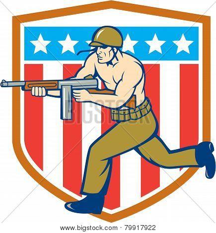World War Two Soldier American Tommy Gun Shield