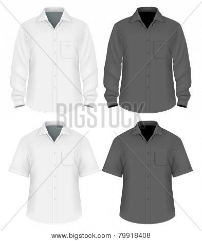 Black and white dress shirts (button-down). Short and long sleeve. Front view. Vector illustration.