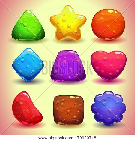 Set of bright jelly figures with bubbles
