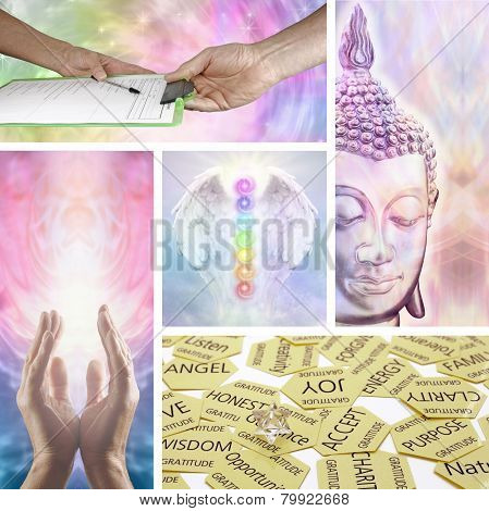 Five images showing different aspects of holistic healing including healing hands, divination, meditation, Angel Chakras and the initial consultation with the therapist poster