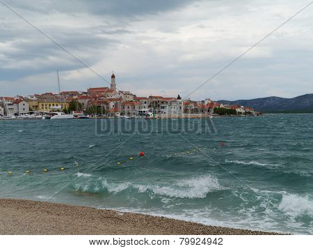 Bad weather in Betina in Croatia