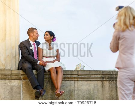 Beautiful Indian Bride And Caucasian Groom After Wedding Ceremony