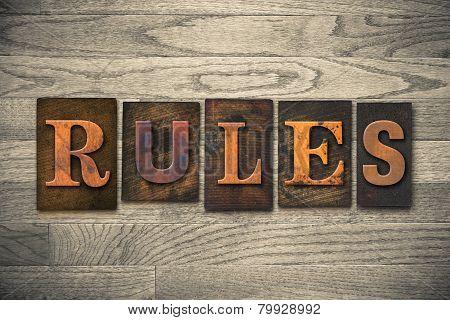 Rules Concept Wooden Letterpress Type