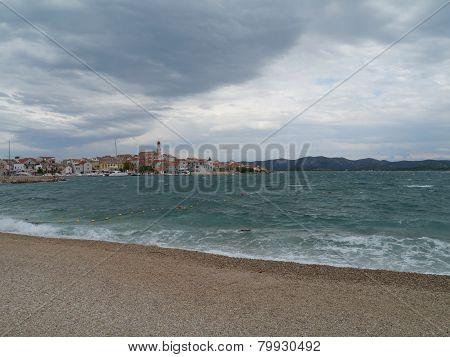 Bad weather in Betina in Croatia