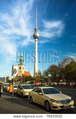 BERLIN, GERMANY - NOV 17, 2014: View of the Berlin TV Tower (Fernsehturm) is a television tower in central Berlin, constructed 1965-1969, height of 368 meters, it is the tallest structure in Germany.
