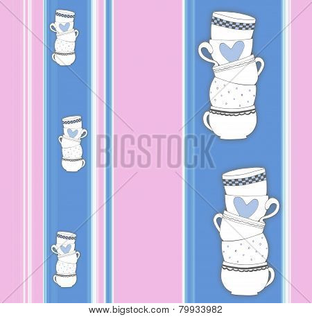 Vertical Stripey Pattern With Stack Of Towering Cups