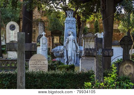 The Protestant Cemetery (Non-Catholic Cemetery is a cemetery in Rome located near Porta San Paolo poster