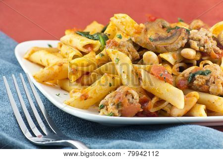 Penne Nostra Italian pasta with mushrooms spinach ground sausage and olive oil