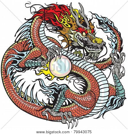 dragon holding pearl