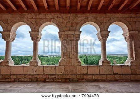 Landscape Seen Through Romanesque Church Archs