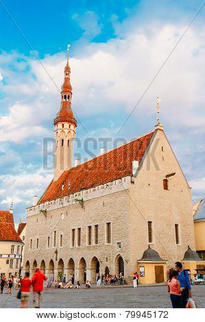 Tallinn central Town Hall Square by Evening Raekoja Plats