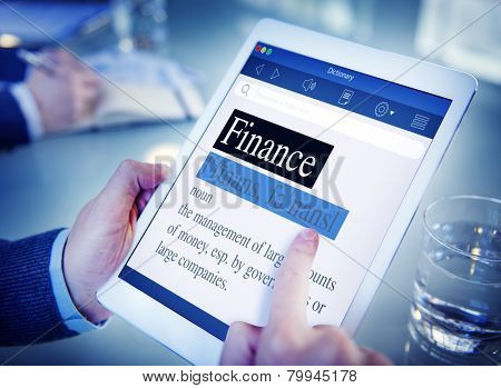 Finance Meaning Dictionary Digital Tablet Office Browsing Concept poster