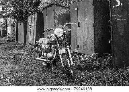 Vintage Motorcycle Generic Motorbike In Countryside