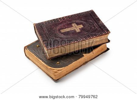 Two Old Bibles On White Background