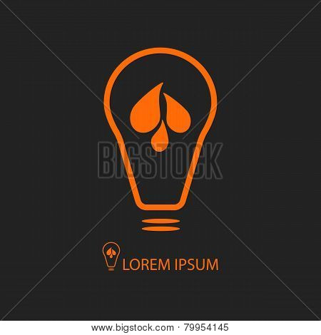 Black and orange bulb with blue water drops. Energy symbol