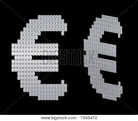 Euro Symbol Assembled Of Diamonds