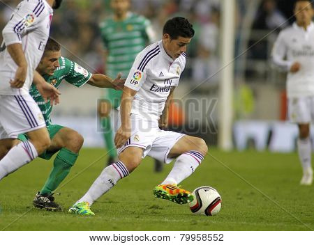 BARCELONA - MAY,11: James Rodriguez of Real Madrid during the Spanish Kings Cup match against UE Cornella at the Estadi Cornella on October 29, 2014 in Barcelona, Spain