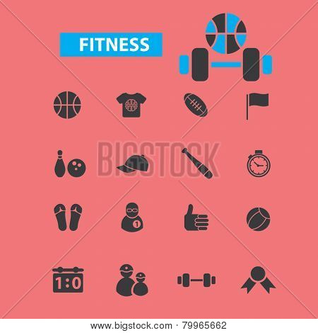 fitness, sport, gym bodybuilding icons, signs, symbols, illustrations set on background, vector