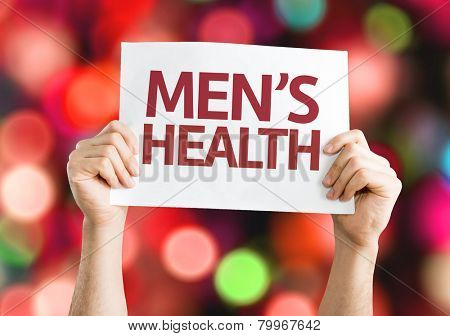 Men's Health card with colorful background with defocused lights
