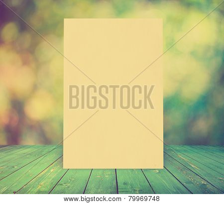 billboard on bright background, autumn bokeh and wooden floor, retro film filtered, instagram style  poster