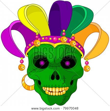 Illustration of Mardi Gras skull mask