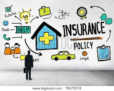 Businessman Insurance Policy Help Benefits Concept