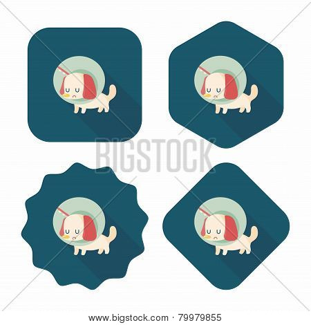 Pet Elizabethan Collar Flat Icon With Long Shadow