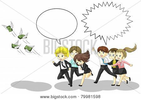 Money is flying away from business and office people with speech bubble. It is because of inflation economic recession or business loss? poster