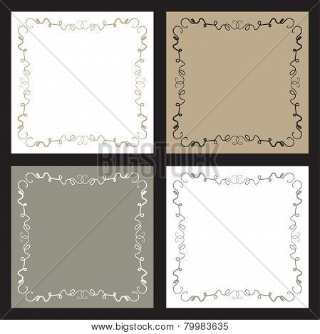 Four Backgrounds With Squiggly Line Borders
