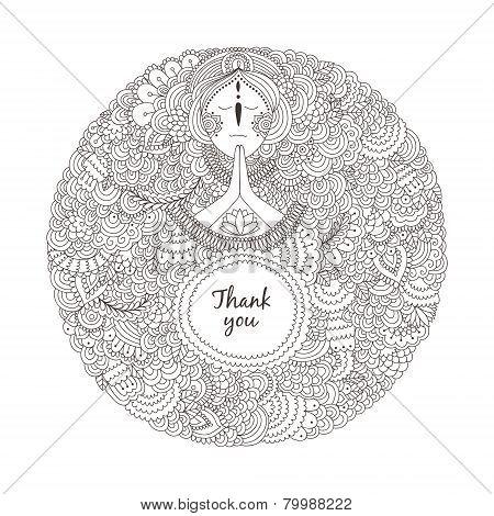 Woman praying on a white background
