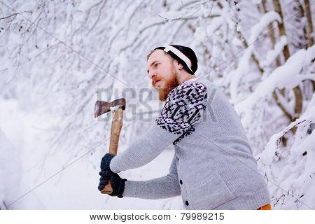 Lumberjack ax swings