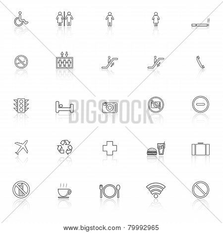 Public Line Icons With Reflect On White Background