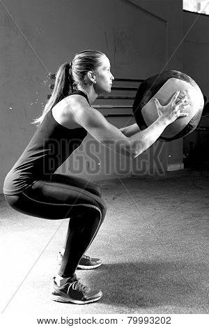 Woman Doing Ball Slams Exercise - Workout.