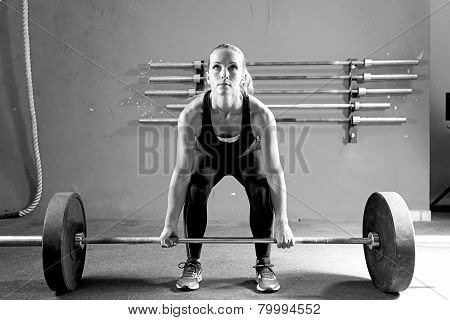 Young Woman On A Weightlifting Session - Workout.
