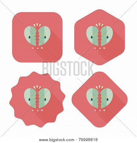 Valentine's Day Broken Heart Flat Icon With Long Shadow,
