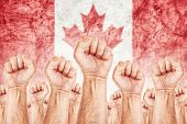 Canada Labor movement workers union strike concept with male fists raised in the air fighting for their rights Canadian national flag in out of focus background. poster