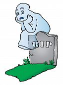 An illustration featuring a confused ghost come out fromit grave on white poster