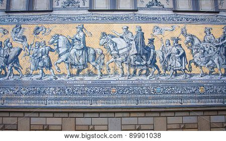 Furstenzug is a giant mural decorates the wall